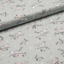 "Baumwolle ""Birds on grey - Winterfold by Ali Brookes"" (grau) von Dashwood Studios: 18164"
