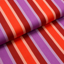 "Canvas Baumwolle ""At the Beach - Sunny stripes"" (bordeaux/orange/violett) von hamburger liebe von KREANDO:  19655"