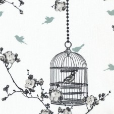 "AU MAISON Wachstuch Oilcloth ""Birdcage"" (Charcoal-Ice Green)"